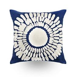 Hodeco Embroidery Throw Pillow Covers Navy Blue 18x18 Decora