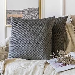 MIULEE Pack of 2 Embroidery Velvet Throw Pillow Cover Decora