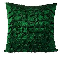 Set of 2 Emerald Green Textured pillow covers With Smocking