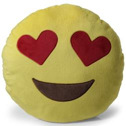 OxGord Emoji Heart Eyes Pillow Throw Pillow