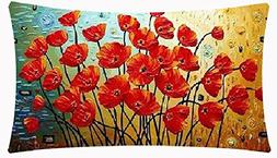 Enchanting Beautiful Oil Painting Red Poppy Flowers Annivers