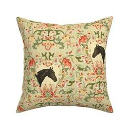 Equestrian Horse Pony Floral Throw Pillow Cover w Optional I