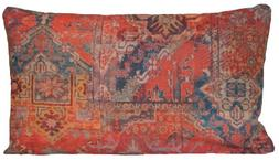 Ethnic Rug Decorative Pillow Case Red Printed Cushion Cover