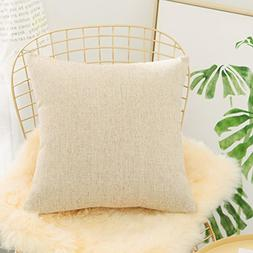 HOME BRILLIANT Euro Throw Pillow Sham Striped Linen Chenille