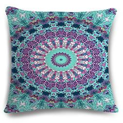European Colorful Retro Floral Compass Medallion Purple Turq