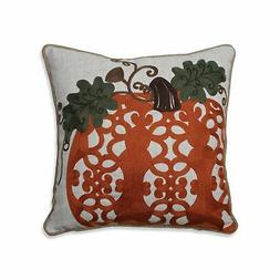 Pillow Perfect Fancy Embroidered Pumpkin Orange 16-inch Thro