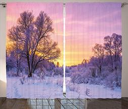 Ambesonne Farm House Decor Curtains by, Winter Landscape wit