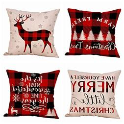 4 Pack Farmhouse Christmas Red Black Buffalo Plaids Throw Pi