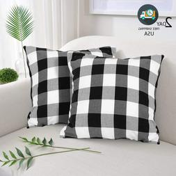 Farmhouse Decor Pillow Covers BLACK & WHITE Buffalo Checkers
