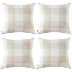 Anickal Set of 4 Farmhouse Decorative Throw Pillow Covers Bu