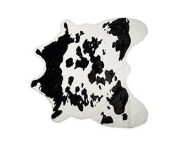 """LUXE FAUX COWHIDE RUG/THROW 4 1/4""""X5' SUGARLAND BLACK&WHITE"""