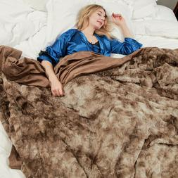 Faux Fur Bed Blanket Soft Cozy Warm Fluffy Variation Print M