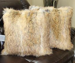 Faux Fur Canadian Fox Honey Pillow Cover 18 x 18 in - Set of