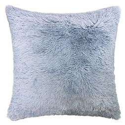 Homey Cozy Faux Fur Throw Pillow Cover,Baby Blue Double-Side