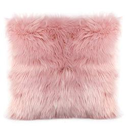 Ojia Faux Fur Throw Pillow Cover Cushion Case Super Soft Plu