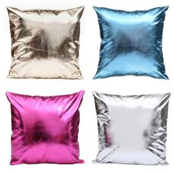 Faux Leather Throw Pillow Case Cover Shiny Solid Sofa Cushio