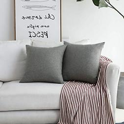 HOME BRILLIANT Faux Linen Gray Burlap Throw Pillow Covers De