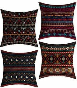 FeelAtHome Throw Pillow Covers Cases 18 x 18 Inches Set of 4