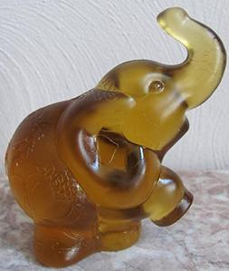 Fenton Amber Satin Sand Carved Solid Glass Elephant - Rosso