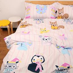 MeMoreCool Fitted Sheet Cute Cartoon Animals Striped Backgro