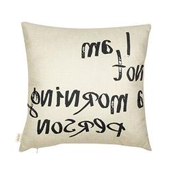 Fjfz I Am Not a Morning Person Funny Quote Cotton Linen Home