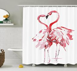 Ambesonne Flamingo Decor Shower Curtain Set, Flamingo Couple