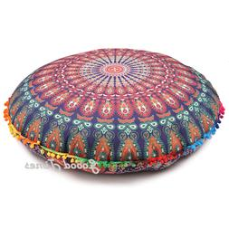 Floor  Large Pouf Cushion Cover Bohemian Indian Mandala Thro