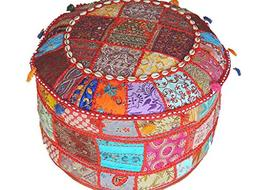 NovaHaat Floor Seating Poufs – Large Round Eclectic Indian
