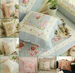 Country Floral 100% Cotton Patchwork Quilted Throw Pillow Cu