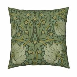 Floral William Morris Damask Throw Pillow Cover w Optional I