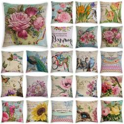Flower Market Spring Floral Throw Pillow CoverPolyester Deco