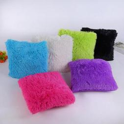 Fluffy Fur Plush Square Throw Waist Pillow Case Sofa Home De