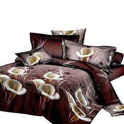 FMY 3D Reactive Lily And Tiger Bedding Sets 4 Pcs for Queen