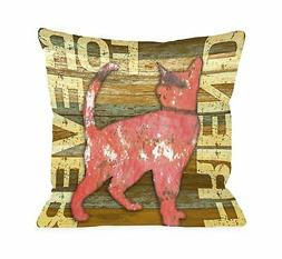 One Bella Casa Friend Forever Wood Cat Throw Pillow, 26 by 2