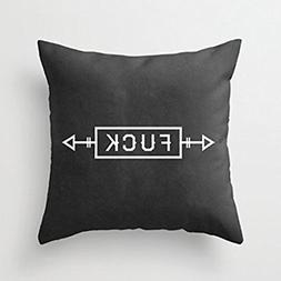 Fuck Letter with Arrow Black Canvas Square Pillow Covers Dec