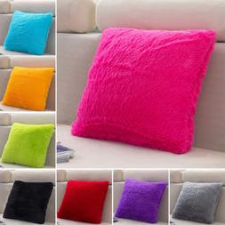 Fur Plush Throw Pillow Case Sofa Waist Cushion Cover Pillow