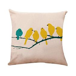 GBSELL Pillow Cover Bird in Tree Throw Pillow Case Cafe Home