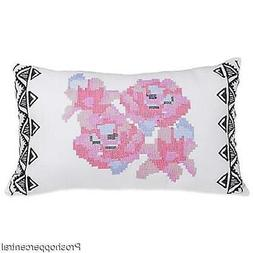 """Blink Ryder Geo Floral Oblong Throw Pillow in White, 12"""" W x"""