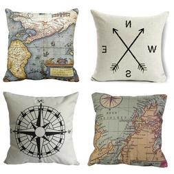 Wonder4 Geography Theme Throw Pillow Covers Home Decorative