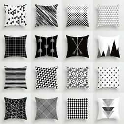 Geometric Cushion Cover Black and White Polyester Throw Pill