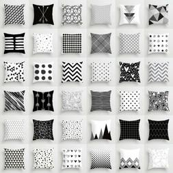 Geometric Cushion Cover Black And White Polyester Throw Squa