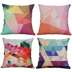 YeeJu Set Of 4 Geometric Decorative Throw Pillow Covers Squa