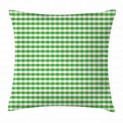 Geometric Throw Pillow Case Green White Gingham Square Cushi