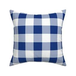 Gingham Check Blue And White Throw Pillow Cover w Optional I