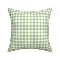 Gingham Light Green Checkered Throw Pillow Cover w Optional