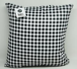"""Deny Designs Gingham Outdooor 16"""" x 16"""" Throw Pillow - Black"""