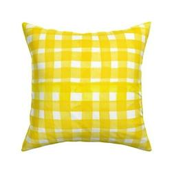 Gingham Sunshine Watercolor Mod Throw Pillow Cover w Optiona