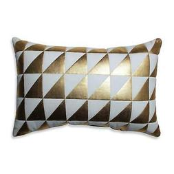 Glamour Triangle Gold White Rectangular Throw Pillow