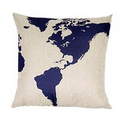 Globe Map Print Linen Blend Decorative Throw Pillow Cover Ca