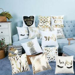 Gold Retro Cotton Linen Cushions Cover Letters Throw Pillow